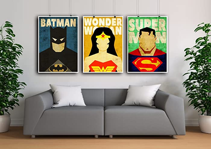 Superhero Poster Set, Superman Poster, Wonder Woman Print, Batman  Minimalist Prints, Superhero
