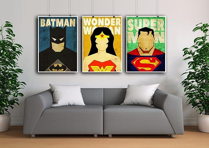 Superhero Poster Set, Superman Poster, Wonder Woman Print, Batman  Minimalist Prints, Superhero