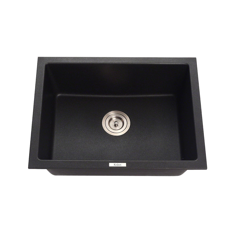 E Granite Kitchen Sinks Kraus Kgd 410b 24 2 5 Inch Dual Mount Single Bowl Black Onyx