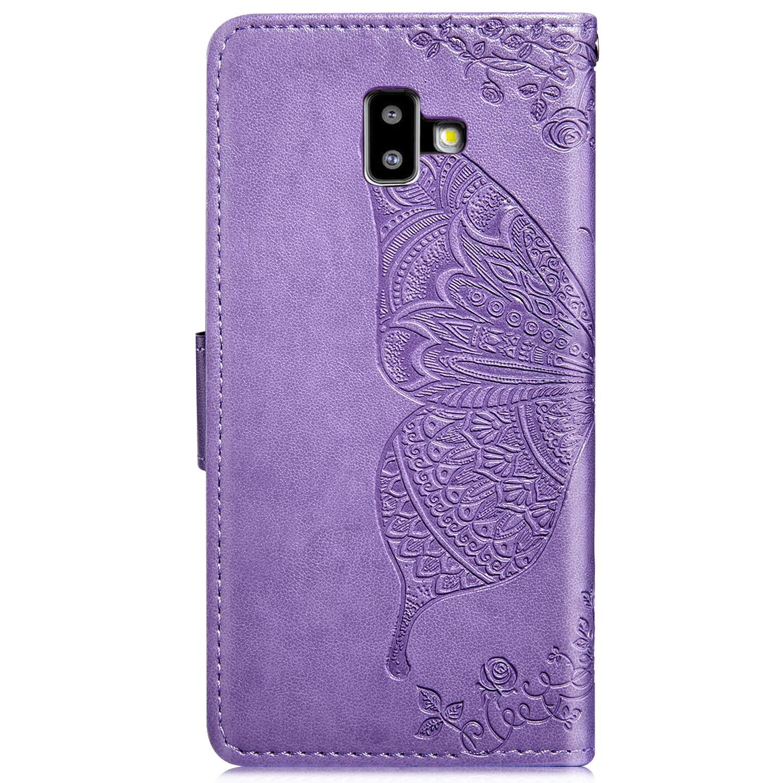 Herbests Kompatibel mit Samsung Galaxy J6 Plus 2018 Handy H/ülle Leder H/ülle Schmetterling Blumen Muster Brieftasche Tasche Flip Case Wallet Klapph/ülle Handschlaufe Kartenf/ächer Magnet,Schwarz