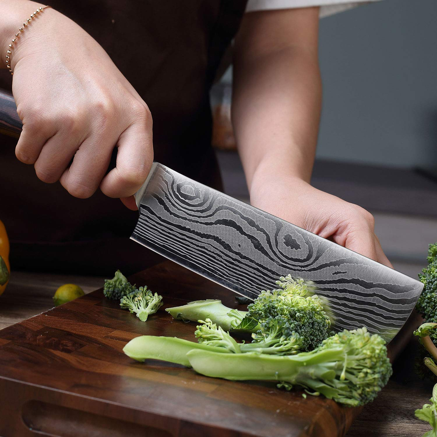 Cleaver Knife - PAUDIN 7 inch Chinese Vegetable Cleaver Kitchen Knife N6 German High Carbon Stainless Steel Meat Cleaver Knife by PAUDIN (Image #6)