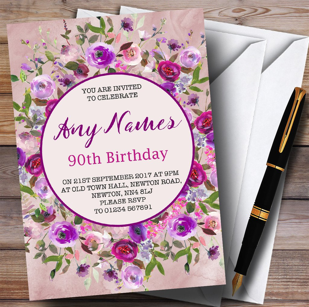 Pink & Purple Watercolour Floral 90th Personalized Birthday Party Invitations