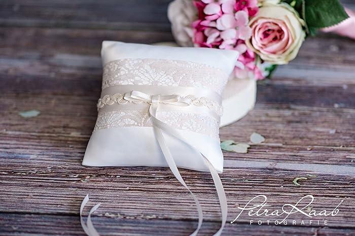 Ringkissen Wedding Pillow Hochzeit Ringe Ivory Natur Beige Braut
