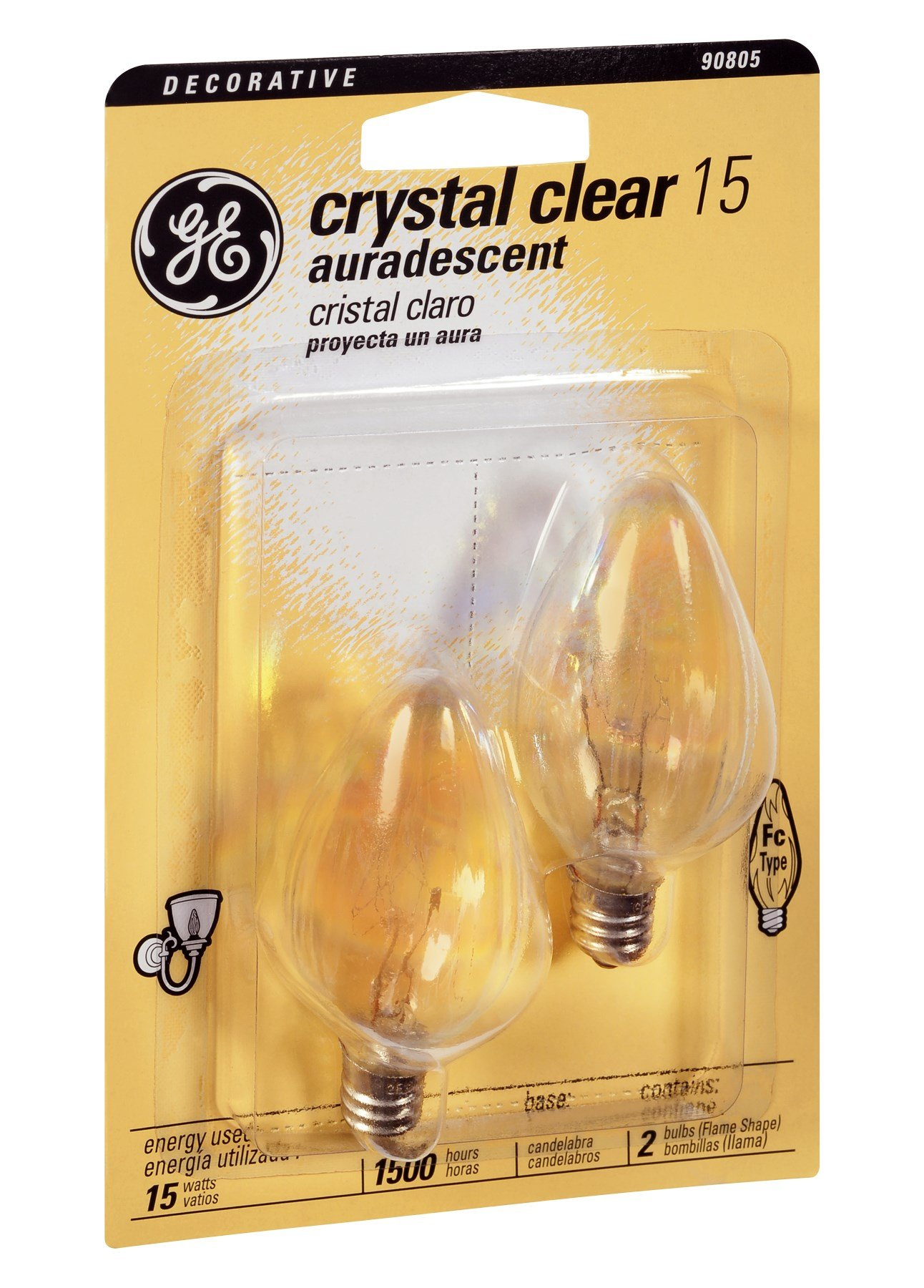 GE Crystal Clear Decorative 15 Watt Fc Candelabra Base Light Bulb 2 CT (Pack of 9)
