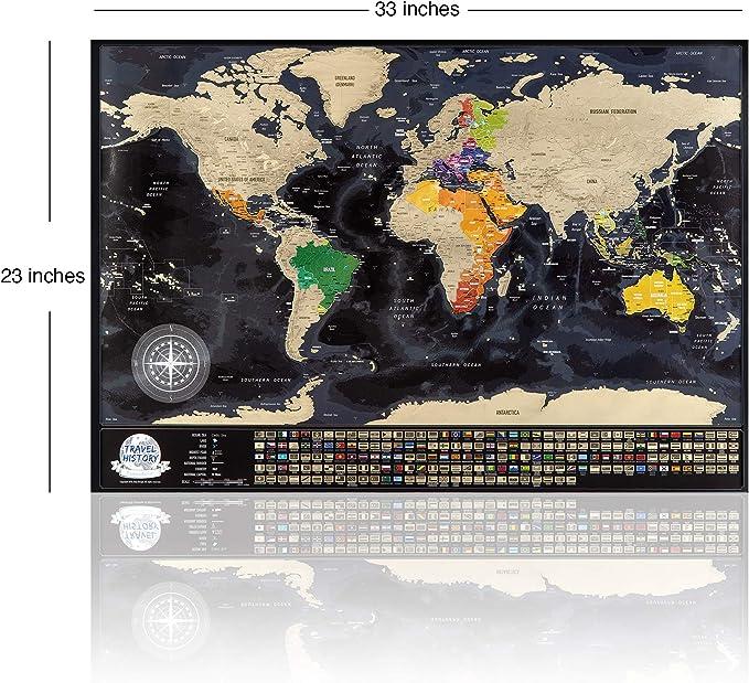 Mapa del Mundo Para Rascar, Mapa Detallado con Las Banderas de Los Países 84 x 57cm, Las Ciudades más Grandes y Capitales, El Paquete de Regalo Incluye Una Herramienta Para Rascar, Hecho