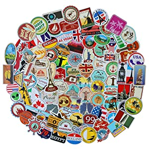 100pcs World Famous Tourism Country & Regions Logo Waterproof Stickers -Travel Map National Flag, Idea for Luggage Skateboard Laptop Luggage Suitcase Book Covers etc (Tourist Wonders)