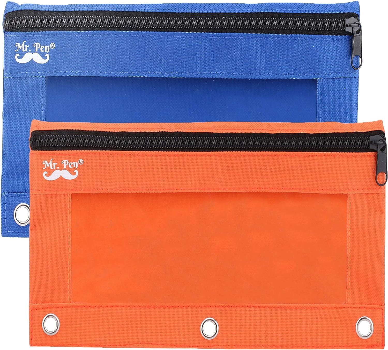 Mr. Pen - Pencil Pouch, Blue and Orange, 2 Fabric Pencil Pouches, Binder Pockets, Pencil Case, Binder Pouch, Pencil Bags, Pencil Pouch 3 Ring, Pencil Bags with Zipper, Zippered Pencil Pouch, Canvas