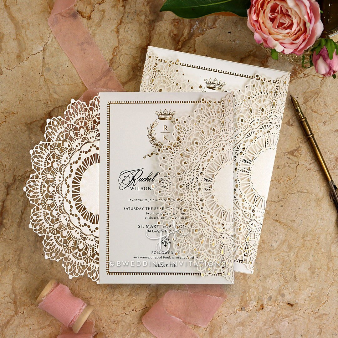 Amazon.com: Wedding Invitations, Ivory Doily Elegance with Foil ...