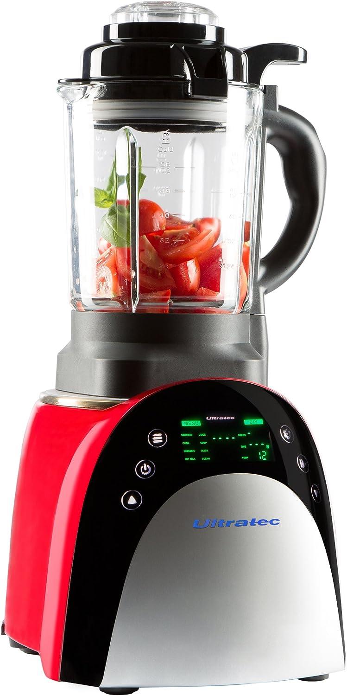 Ultratec Batidora con función de calentamiento; utensilio de cocina multiusos con pantalla táctil, 7 programas y preselección de la temperatura, 1800 vatios, color negro y rojo