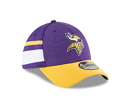 ... new zealand new era mens minnesota vikings 2018 nfl on field sideline  hat purple gold white 43adcaf55a67
