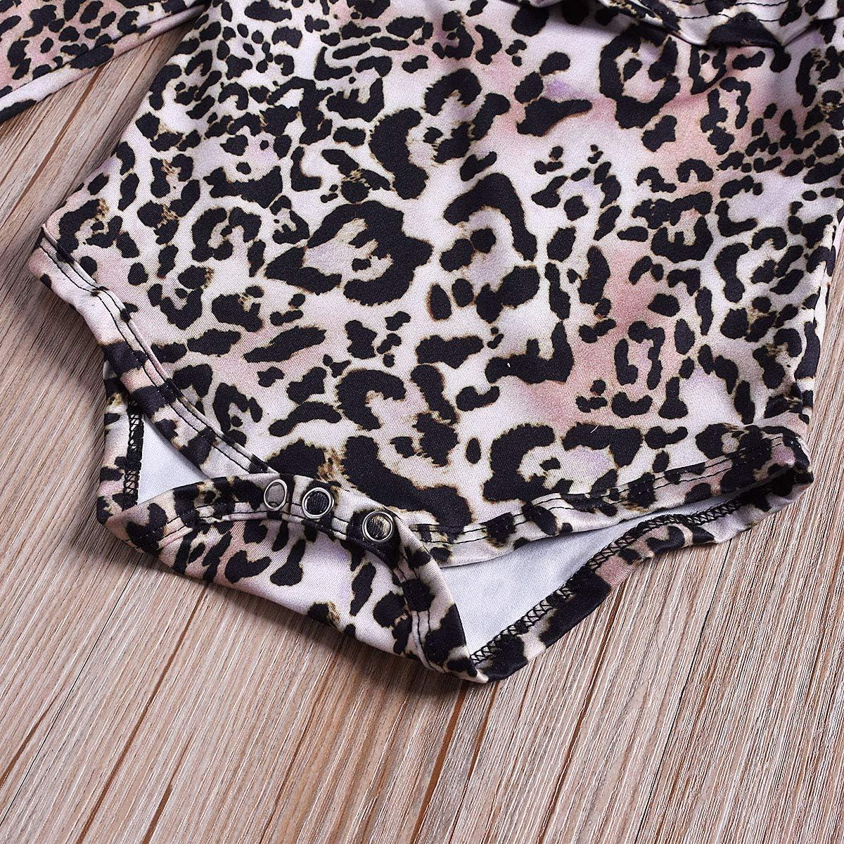 Tianhaik Piccola Ragazza Tutina Leopardata Volant Manica Lunga Pagliaccetto Tuta Pantaloni Primavera Autunno Moda Abiti Casual