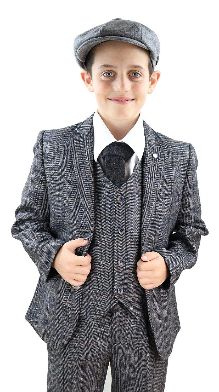 Boys 3 Piece Suit Grey Tweed Check Peaky Blinders Vintage Kids Classic 1920s