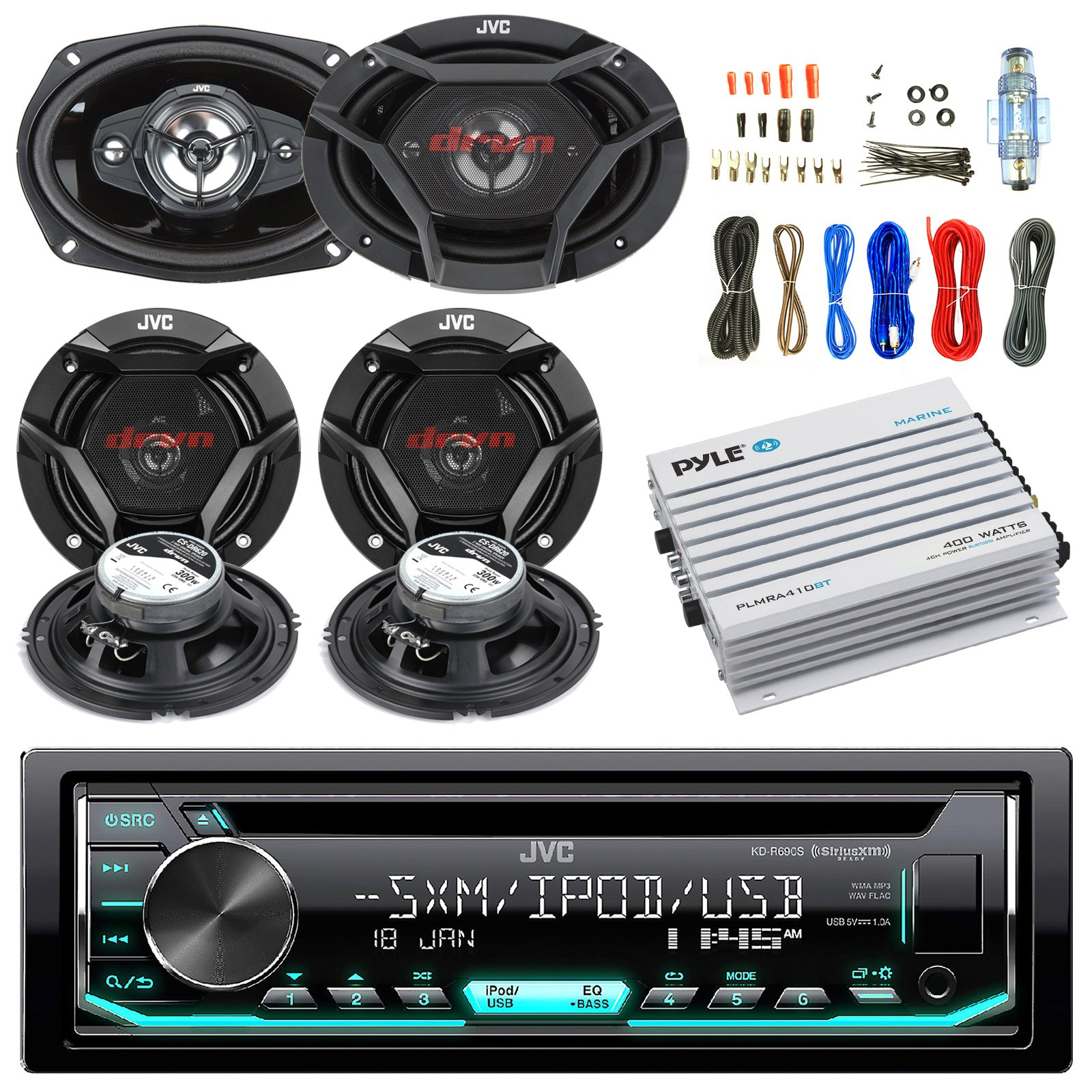 JVC CD/MP3/WMA Receiver Bundle Combo With 2x CSDR6930 6x9'' 3-Way Stereo Coaxial Speakers, 4x CSDR620 6.5'' 2-Way Audio Speaker, 400w 4-Chan Bluetooth Amplifier w/ Enrock Installation Kit