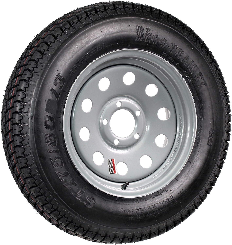 Radial Trailer Tire On Silver Spoke Rim ST175//80R13 LRC 5 Lug On 4.5 Wheel