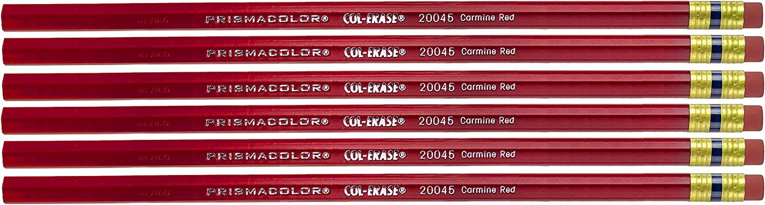 Sanford 20045 Col Erase Pencil W Eraser Carmine Red Lead Barrel Pack Of 6 Wood Colored Pencils Office Products