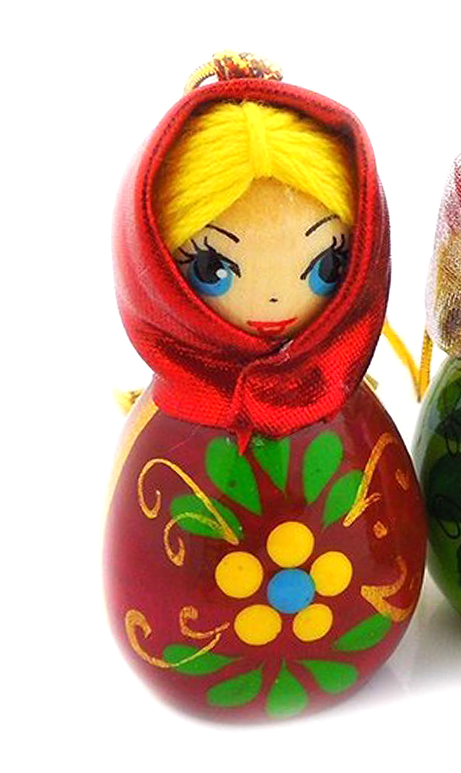 Religious Gifts Hand Carved Painted Russian Wood Ornament Girl with Scarf 2 Inch