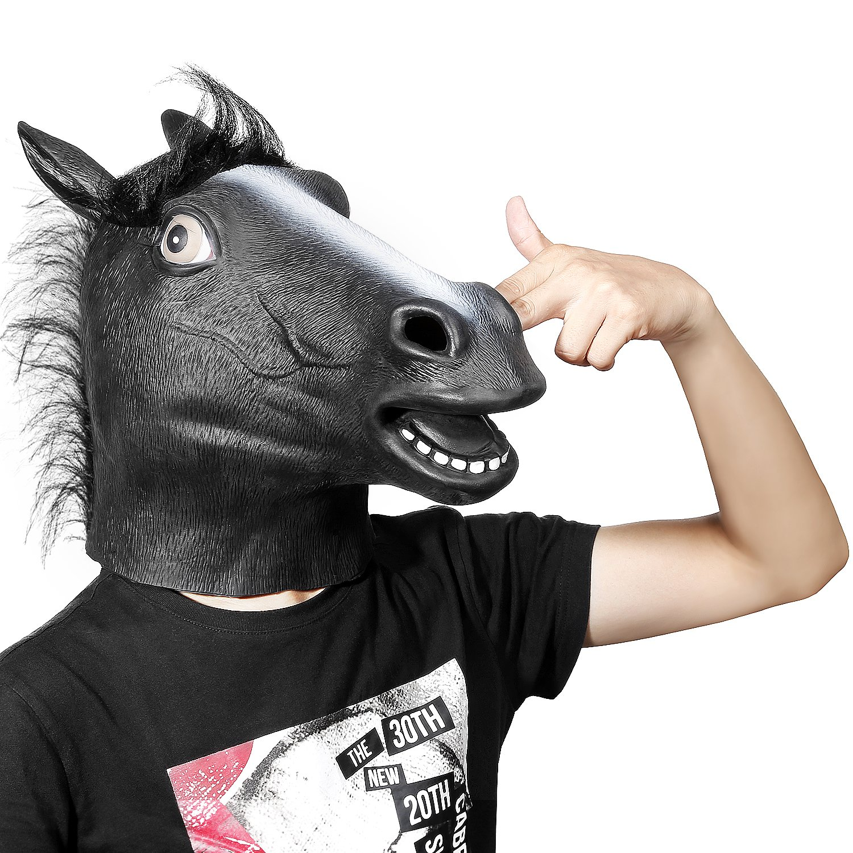Amazon.com: Ylovetoys Latex Horse Head Mask Halloween Costume ...
