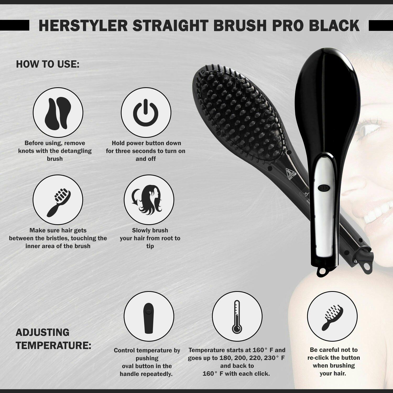 HerStyler Cepillo eléctrico cerámica pelo alisador, Voltaje Dual, negro: Amazon.es: Belleza