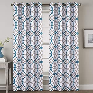 """H.VERSAILTEX Bedroom Blackout Curtain Panels - Home Fashion Teal and Taupe Geo Pattern Energy Saving Window Treatment Ring Top Blackout Draperies and Drapes (52"""" x 108"""", Set of 2 Panels)"""