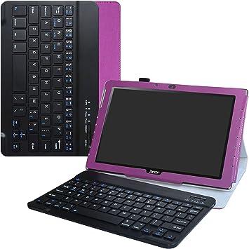 Acer B3-A40 Teclado Funda,LiuShan Detachable Wireless Teclado (Teclado QWERTY Formato inglés) PU Cuero con Soporte Caso para 10.1