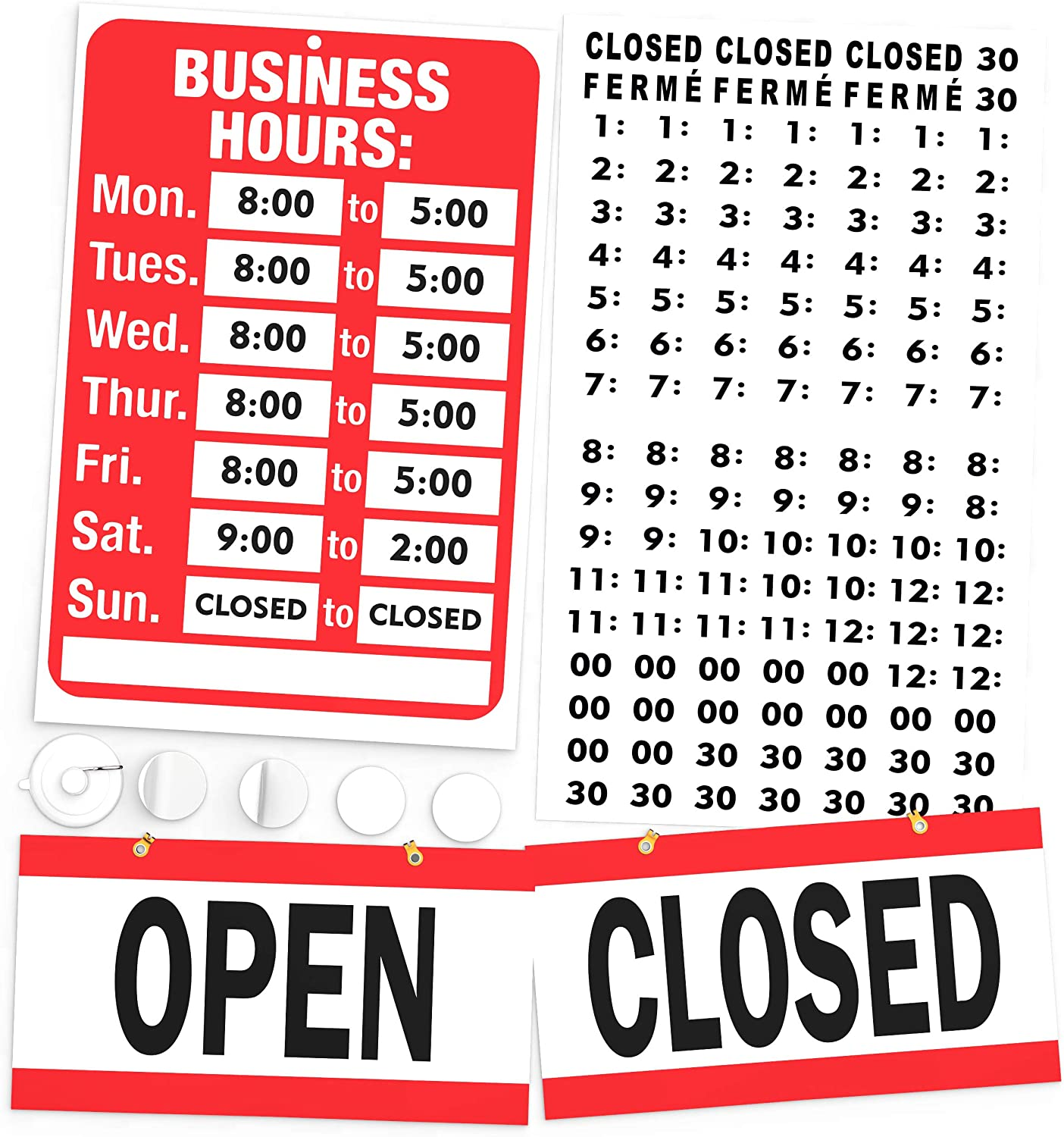 Open Closed Sign, Business Hours Sign Kit - Bright Red and White Colors - Includes 4 Double Sided Adhesive Pads and a Black Number Sticker Set - Ideal Signs for Any Store, Business, Office