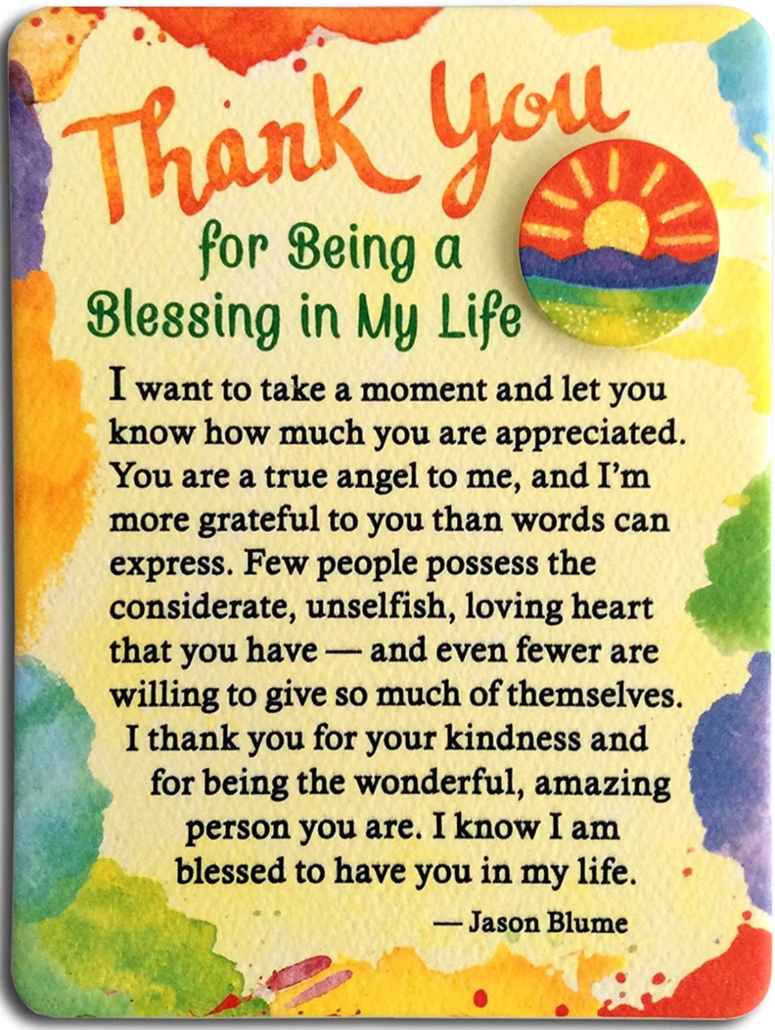 "Blue Mountain Arts Miniature Easel Print with Magnet ""Thank You for Being a Blessing in My Life"" 4.9 x 3.6 in., Sweet ""Thank You"" Gift to Express Gratitude to Someone Who Is a True Angel to You"