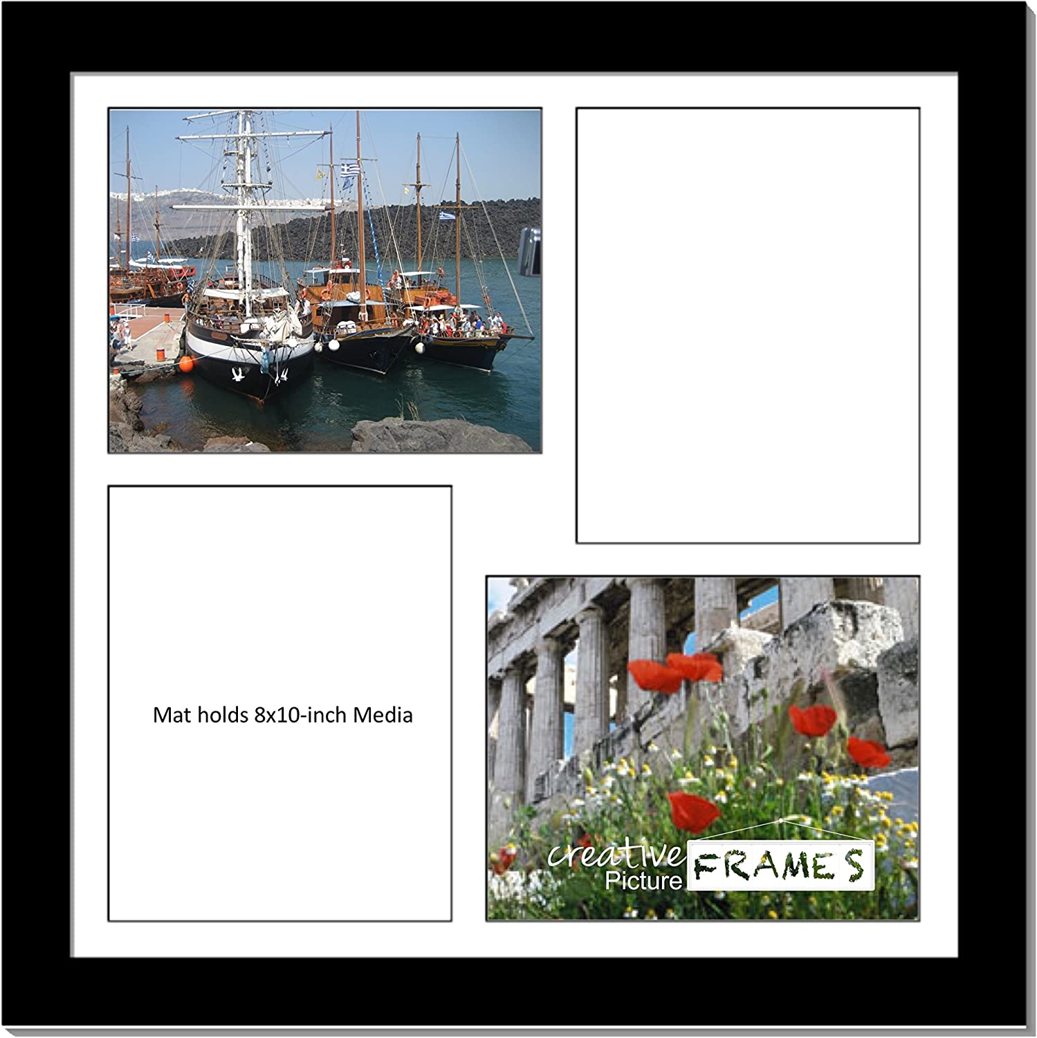CreativePF [2020bk] Black Picture Frame with 4 Opening White Mat/Black Core Collage to Hold 8x10-inch Media,Includes Installed Sawtooth Hangers