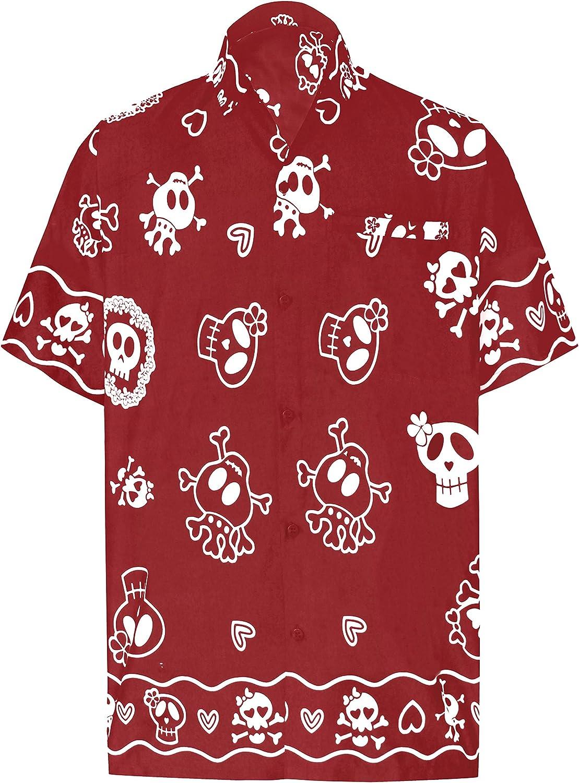 LA LEELA Casual Camisa Hawaiana Manga Corta Bolsillo Delantero hombre impresi/ón De Hawaii Playa Cr/áneo Cosplay Vintage Piratas esqueleto Calabaza Skulls Disfraces De Fiesta De Halloween Costume XS-7XL