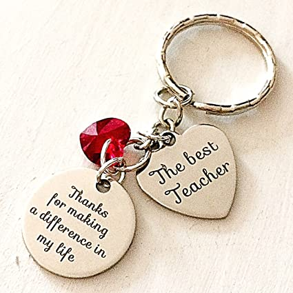 Best Teacher Charm Keychain Accessories Thanks for Making a Difference in My Life Gift of Appreciation or Graduation