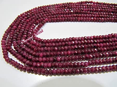 AAA Natural 20 Inch Dyed Correndum Ruby Faceted Rondelle Beads Necklace Dyed Correndum Beads 3.5-4.5 MM Ruby Necklace Faceted  Necklace