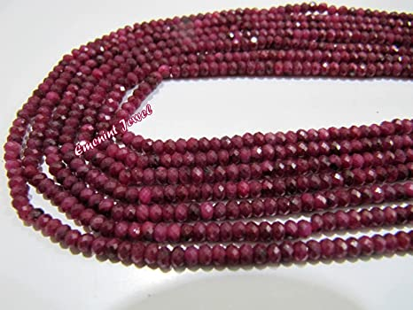 ruby stone Ruby necklace 16inches strand AAA Ruby Dyed faceted Rondelle beads Ruby dyed corrandum beads Ruby rondelle