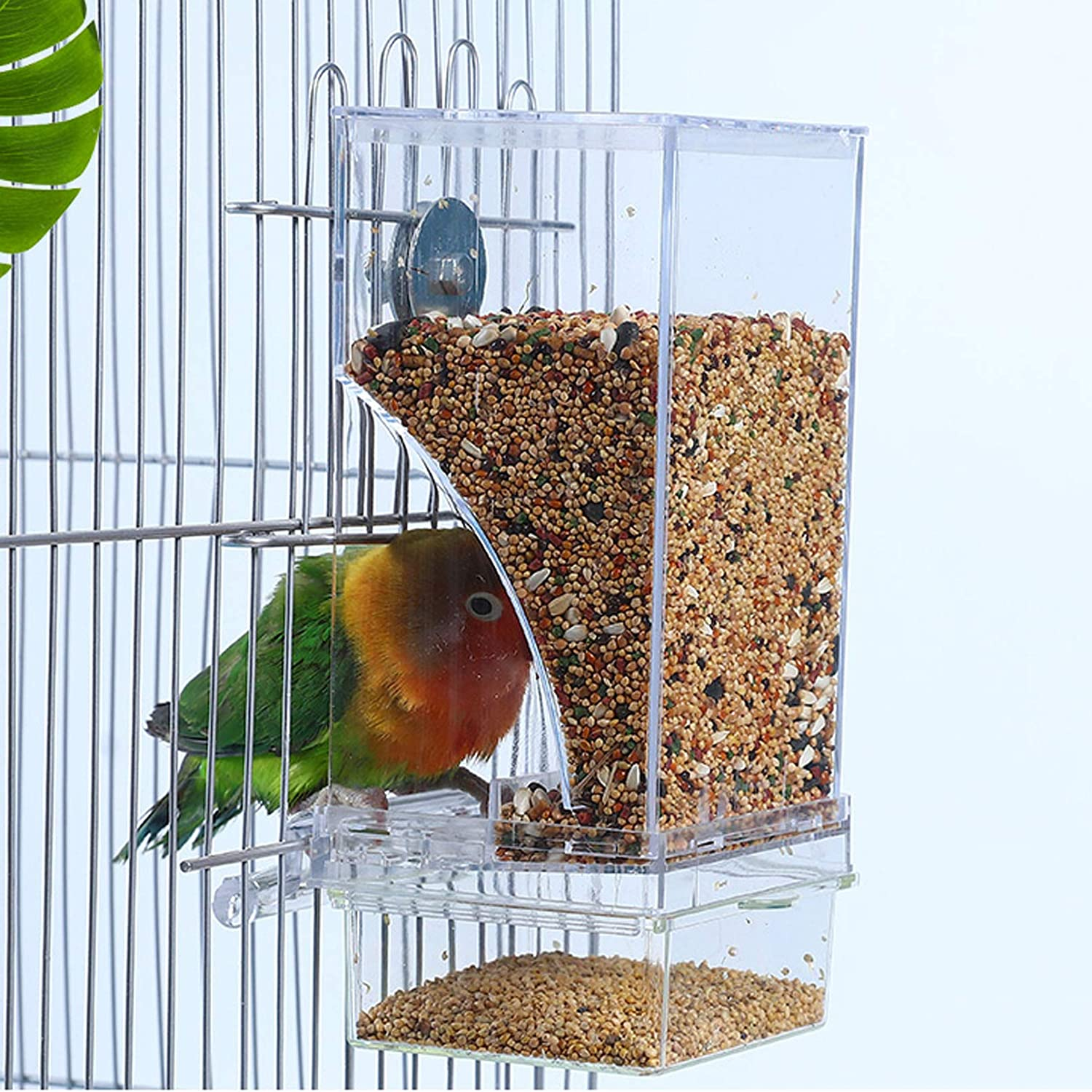 Hamiledyi No Mess Bird Cage Feeder Automatic Parrot Seed Feeders with Perch Acrylic Transparent Seed Food Container Cage Accessories for Small and Medium Parakeets Cockatiels Lovebirds