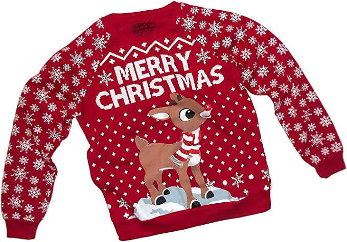 Merry Xmas -- Rudolph The Red-Nose Reindeer Adult Crewneck Sweatshirt, X-