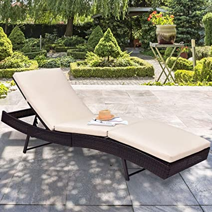 Amazon.com: Mandycng Backyard Wicker Lounge Chair Ergonomic ...