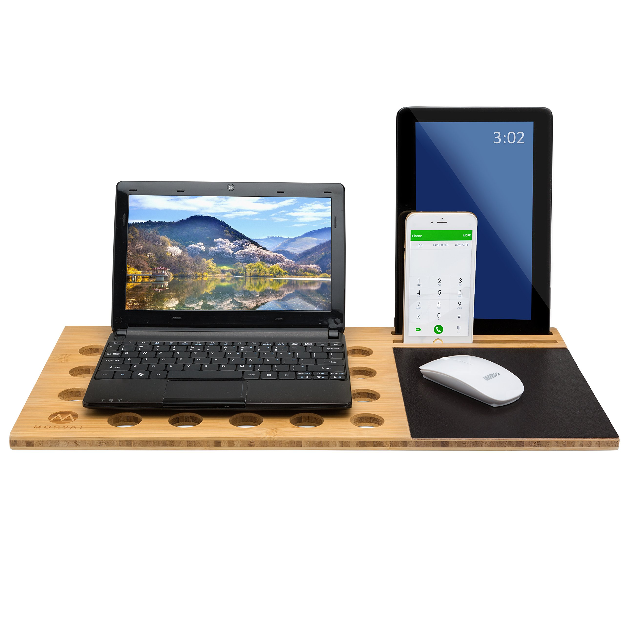Morvat Bamboo Computer Lap Desk Board by Multi-Tasking Laptop Tablet Cellphone Stand Holder with Built-in Mouse Pad, Bed Desk, Laptop Table for Bed, by Morvat