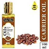 Indus Valley 100% Pure Carrier Oil- Natural, Virgin, unrefined & Cold Pressed Castor Oil for Hair Growth & Skin Glow (100ml)