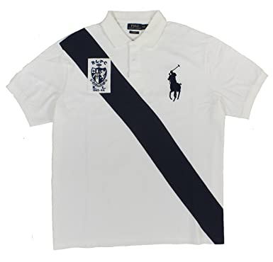 f54602c47f7 Polo Ralph Lauren Men's Custom Sash Big Pony Polo Shirt, White/Navy, Small
