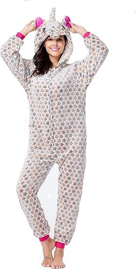 CozofLuv Pijama Animal Unicornio Entero para Adultos Pijama ...