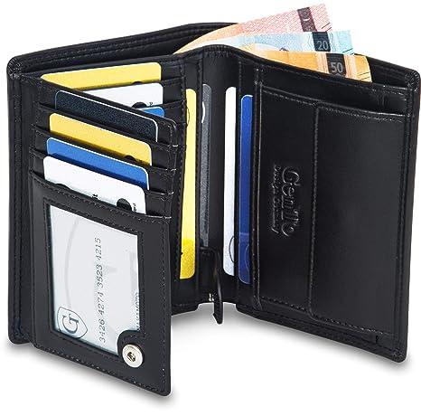 31bc9d293 gento® Hombre Monedero Ginebra Especialmente Amplia Dinero Bolsa Verticales  – con RFID & NFC –