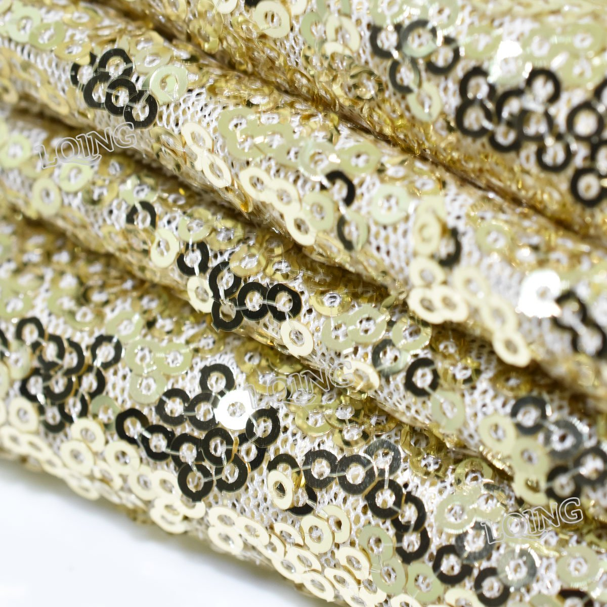 10PCS Factory Wholesale Sequin Tablecloth-90x132inch-Light Gold Shimmer Sequin Fabric, Sequin Table Cloth, Table Linens Nice Wedding/Birthday Shower Decoration Needed