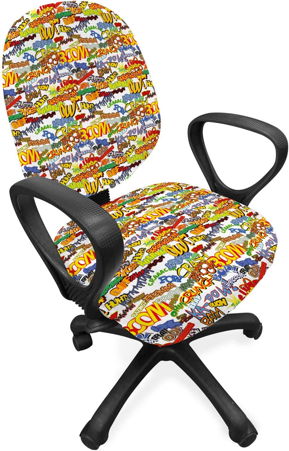 Lunarable Superhero Office Chair Slipcover, Retro Comic Book Expressions Humor Cartoon Scream Crash Pow Vintage Design, Protective Stretch Decorative Fabric Cover, Standard Size, Red Yellow
