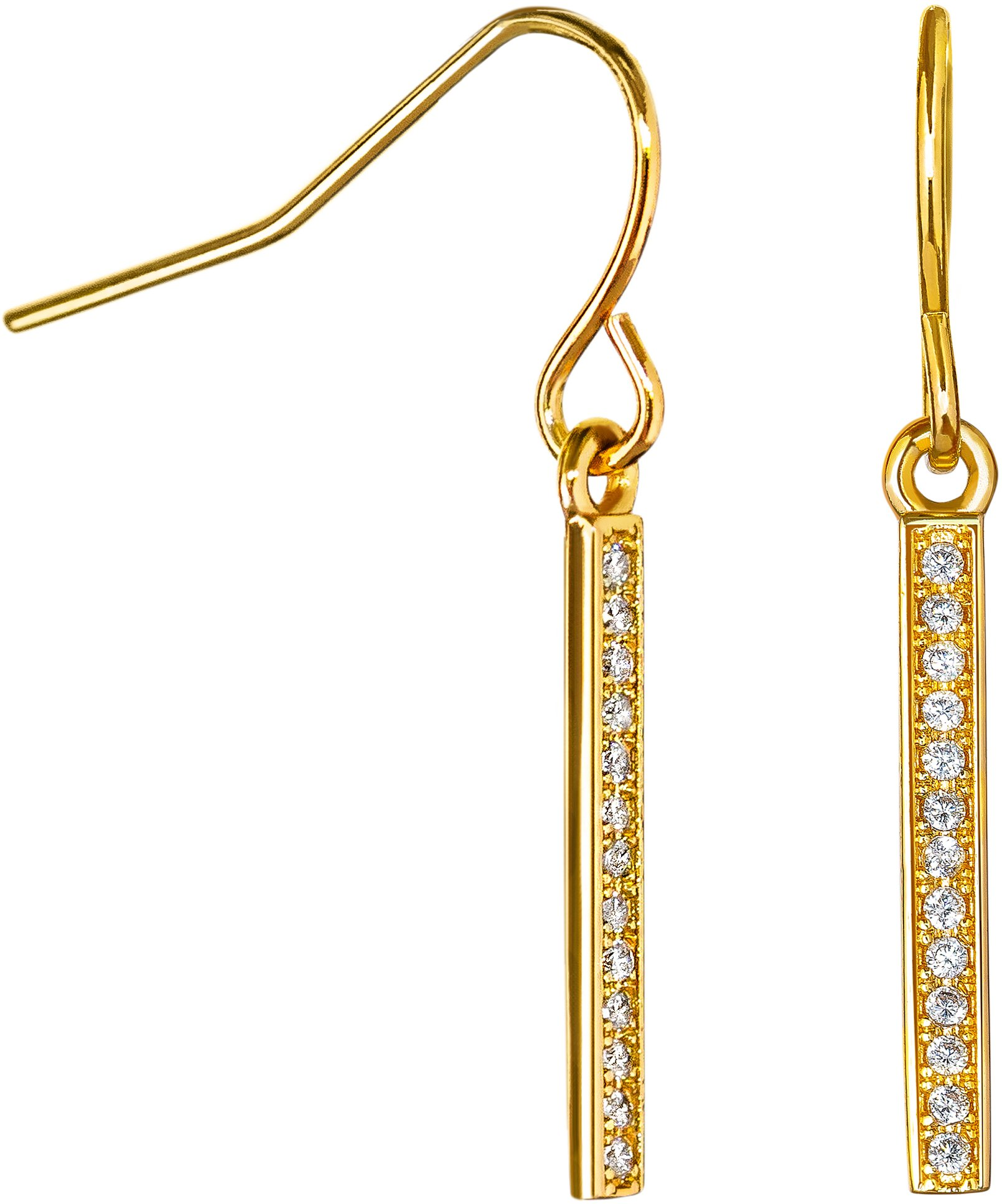 Dangle Earrings Cubic Zirconia: 14k Gold Plated with CZ Vertical Bar Earring for Women Girls Teens
