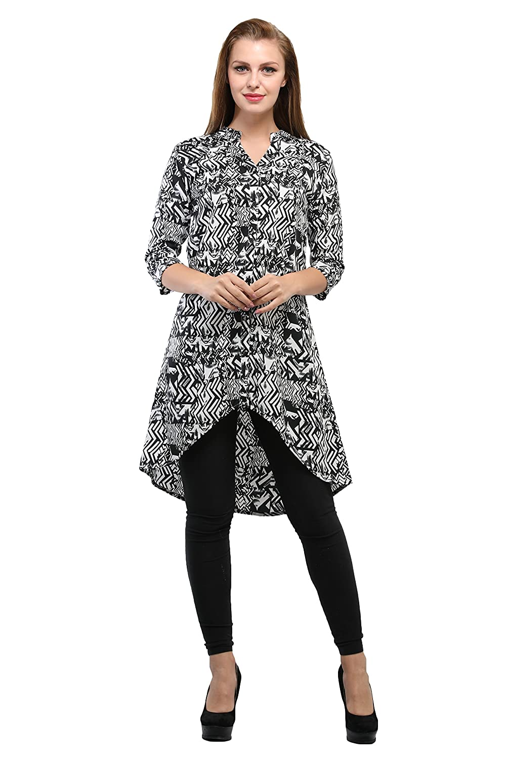 Toshee Women's Black and Multi Color High Low Printed Tunic Made in Crepe (TOS_1040)
