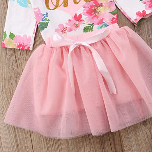 3390e9a95 Amazon.com: Baby Girls' 1st Birthday Tutu Dress Sleeveless Floral Romper  Top Lace Skirt Clothes Easter Outfit 2Pcs: Clothing