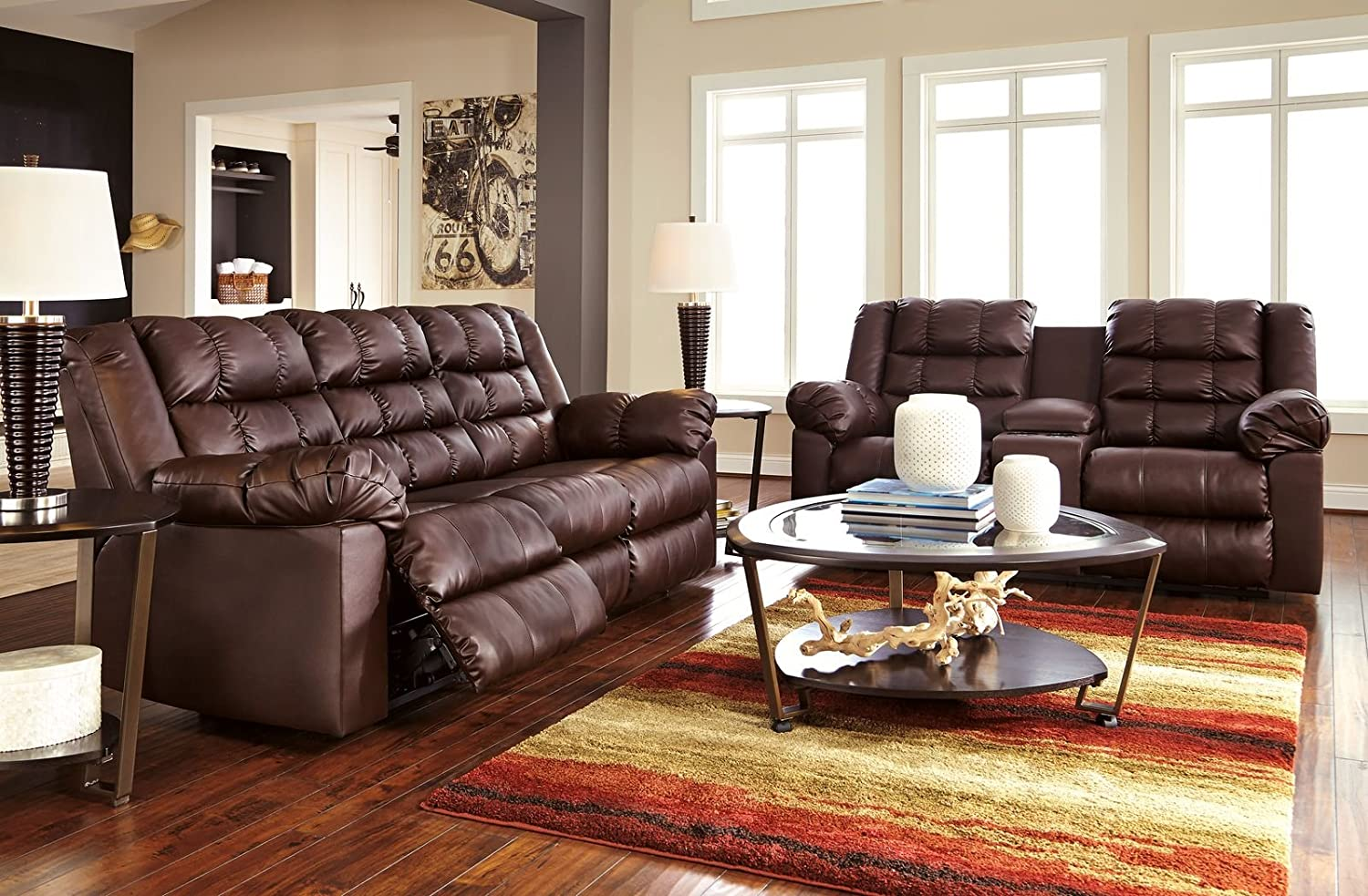 Amazon.com Signature Design by Ashley 8320294 Brolayne DuraBlend Collection Reclining Loveseat with Console Saddle Kitchen \u0026 Dining & Amazon.com: Signature Design by Ashley 8320294 Brolayne DuraBlend ... islam-shia.org