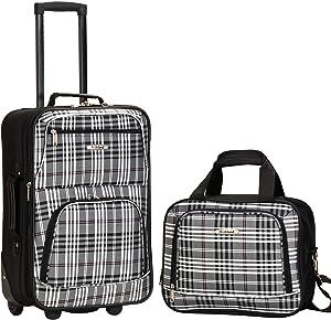 Rockland Fashion Softside Upright Luggage Set, Black Plaid, 2-Piece (14/20)