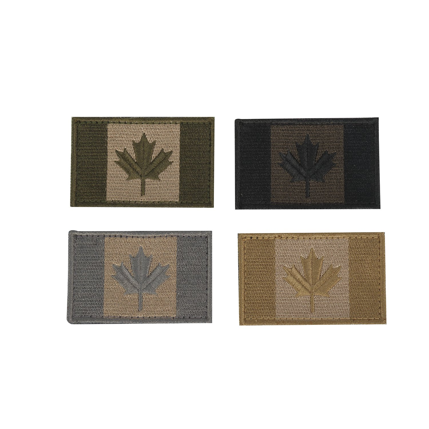 Canadian Flag Patches Assorted Canada Maple Leaf 2x3 Inch Velcro Hook Loop Sticker Patch for Backpacks Hats Jackets Set of 4