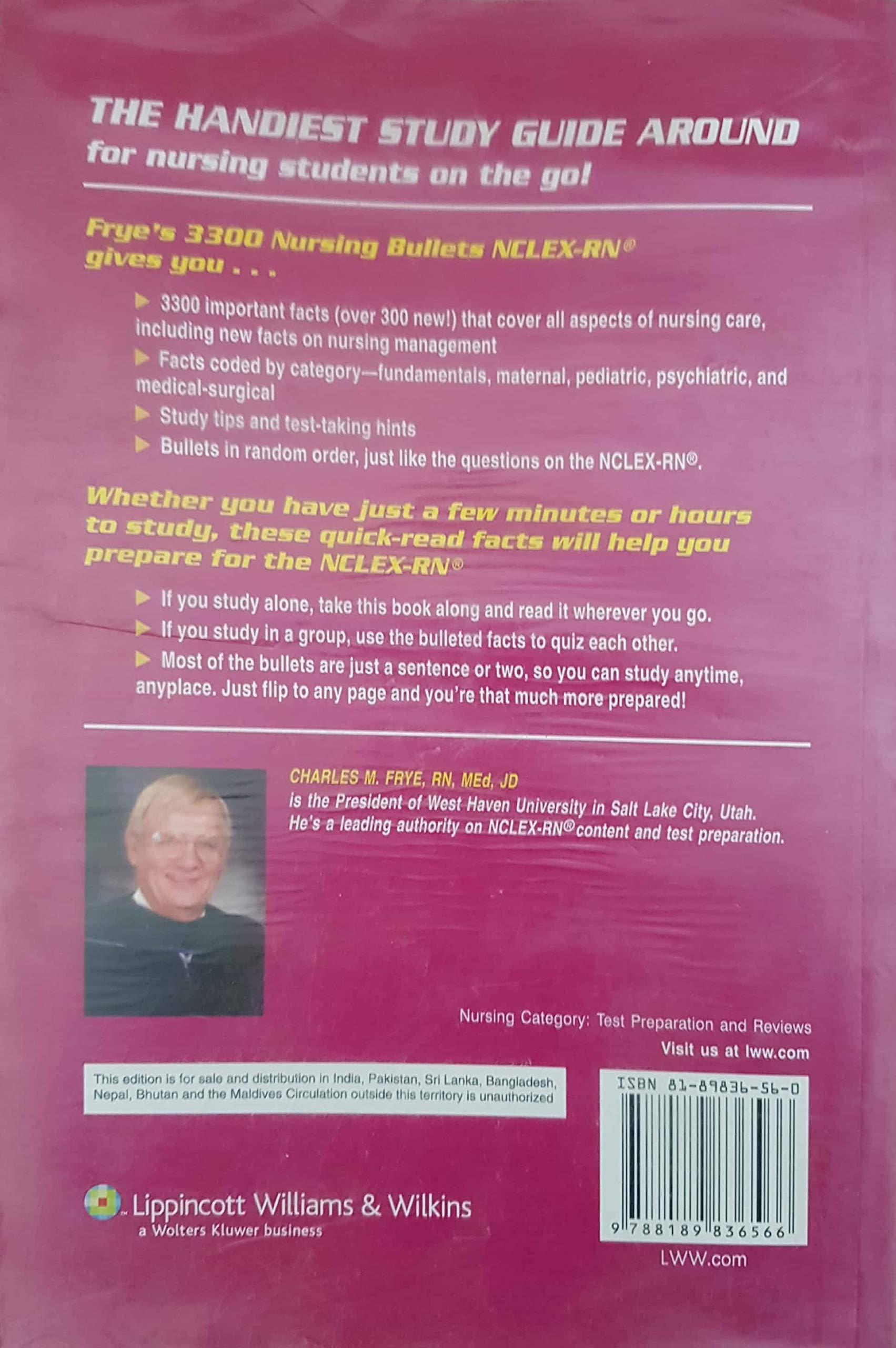 Amazon in: Buy Frye'S 3300 Nursing Bullets Nclex-Rn Book