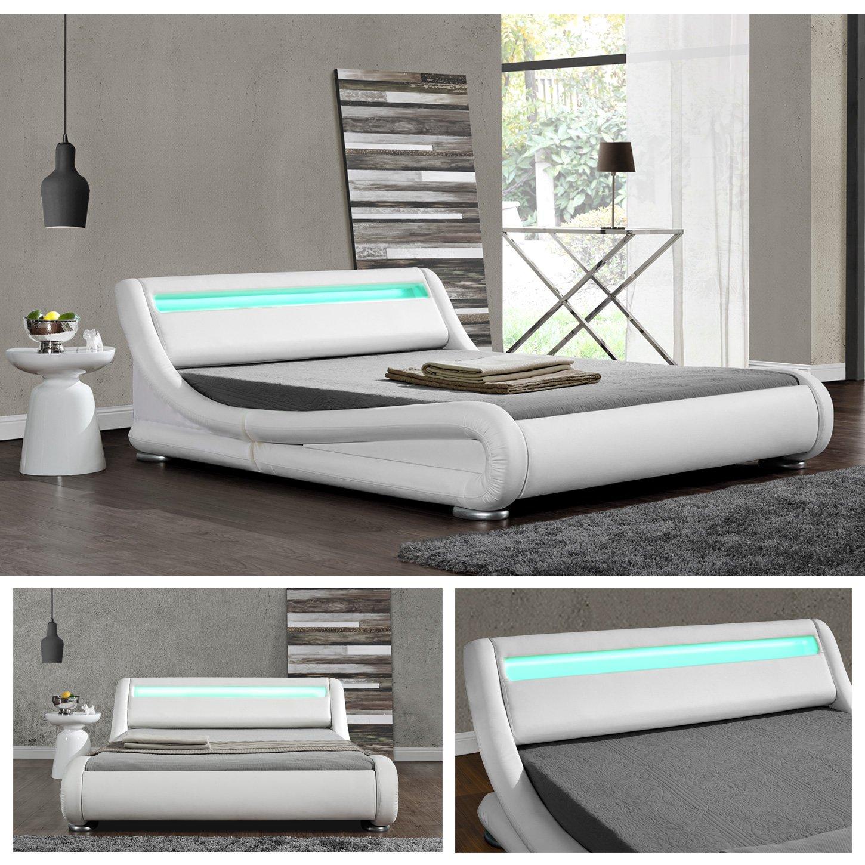 140cm x 200cm Di-Nesh DIABLO Weiss LED Doppelbett Polsterbett Bettgestell Bett Lattenrost Kunstleder