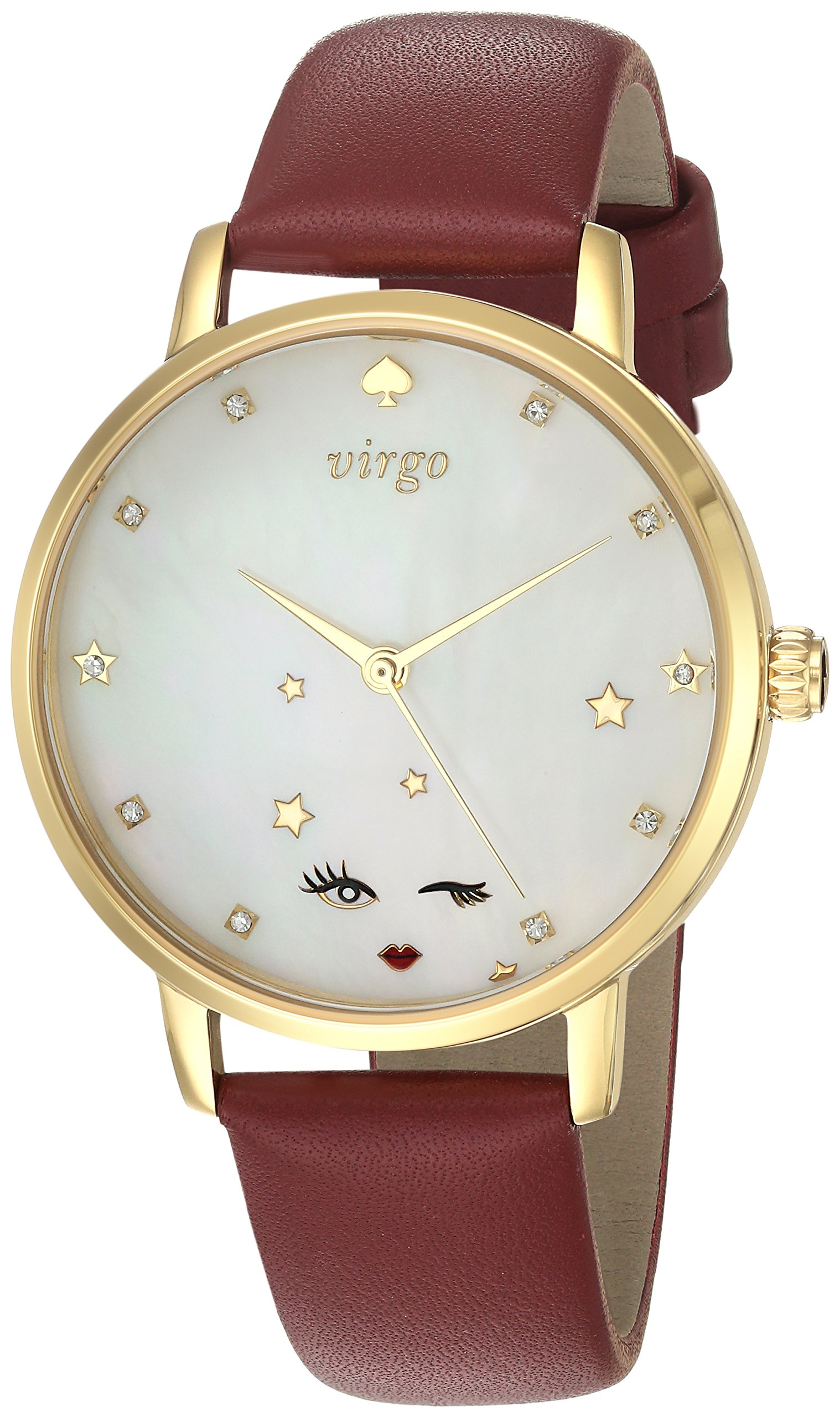 kate spade new york Women's 'Metro' Quartz Stainless Steel and Leather Casual Watch, Color:Red (Model: KSW1189)